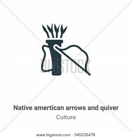 Native amertican arrows and quiver vector icon isolated on white background from modern culture coll