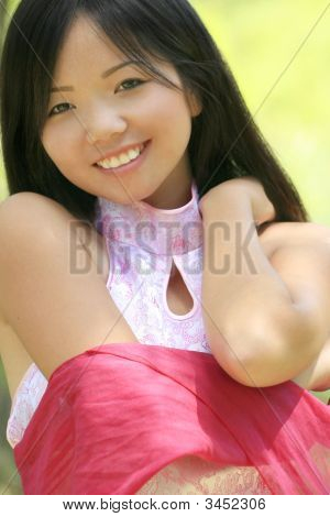 Beautiful Asian Girl With Red Scarf