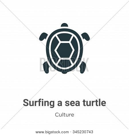 Surfing a sea turtle icon isolated on white background from culture collection. Surfing a sea turtle