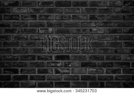 Abstract Dark Brick Wall Texture Background Pattern, Wall Brick Surface Texture. Brickwork Painted O