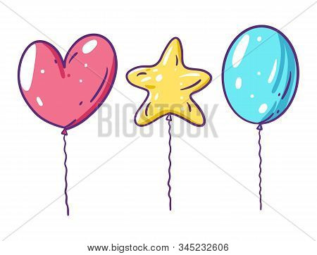 Heart, Star Ans Classic Balloons. Vector Illustration In Cartoon Style. Isolated On White Background