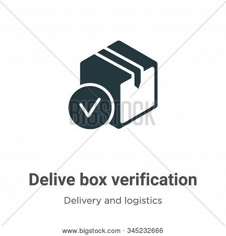 Delivered Box Verification Vector Icon On White Background. Flat Vector Delivered Box Verification I