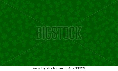 Green Background For St. Patricks Day In Abstract Style. Fresh Backdrop With Clower Leaves. Backgrou