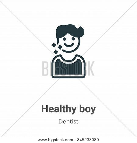 Healthy boy icon isolated on white background from dentist collection. Healthy boy icon trendy and m