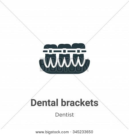 Dental Brackets Vector Icon On White Background. Flat Vector Dental Brackets Icon Symbol Sign From M