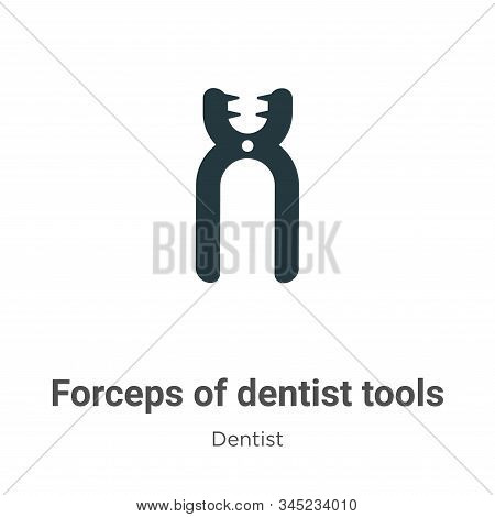 Forceps Of Dentist Tools Vector Icon On White Background. Flat Vector Forceps Of Dentist Tools Icon