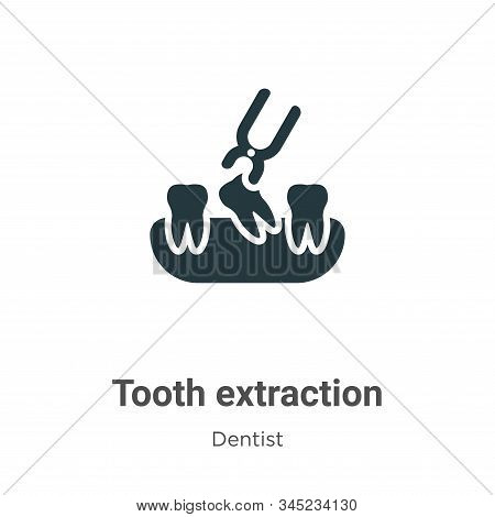 Tooth Extraction Vector Icon On White Background. Flat Vector Tooth Extraction Icon Symbol Sign From