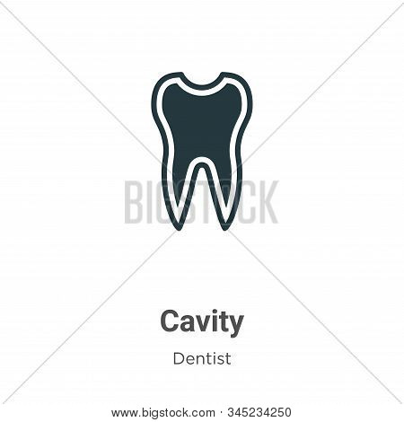 Cavity Vector Icon On White Background. Flat Vector Cavity Icon Symbol Sign From Modern Dentist Coll