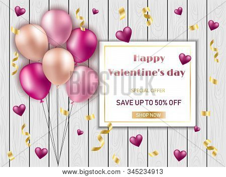 Valentines Day Background With Heart Shape Golden Metallic Balloons. Social Media Special Sale Promo