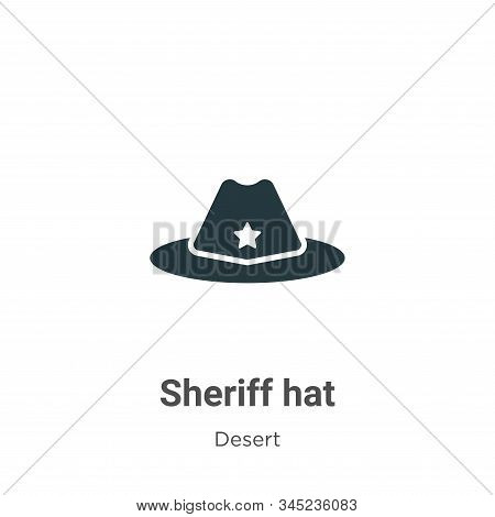 Sheriff Hat Vector Icon On White Background. Flat Vector Sheriff Hat Icon Symbol Sign From Modern De