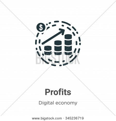 Profits icon isolated on white background from digital economy collection. Profits icon trendy and m