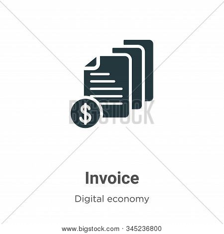 Invoice Vector Icon On White Background. Flat Vector Invoice Icon Symbol Sign From Modern Digital Ec