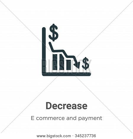 Decrease icon isolated on white background from e commerce and payment collection. Decrease icon tre