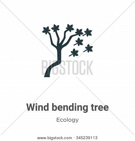 Wind Bending Tree Vector Icon On White Background. Flat Vector Wind Bending Tree Icon Symbol Sign Fr