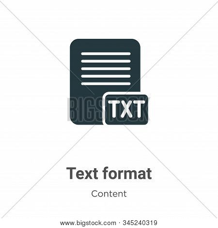 Text Format Vector Icon On White Background. Flat Vector Text Format Icon Symbol Sign From Modern Co
