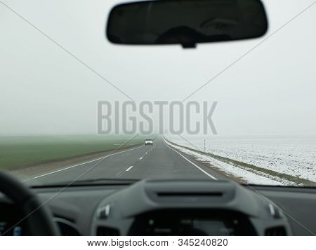 Driving In Foggy Weather. Foggy Road. Bad Weather At The Wheel, Foggy Foggy Country Road. Dangerous