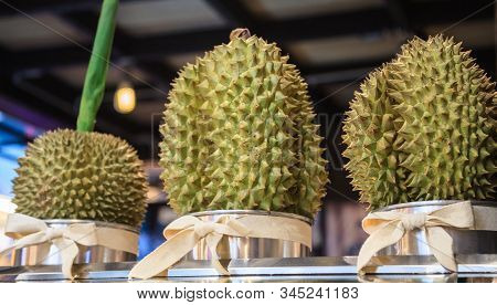 Fresh Ripe Delicious Sweet Green Durian Fruits For Sale On Market Stall. Durian, The King Of Fruit,