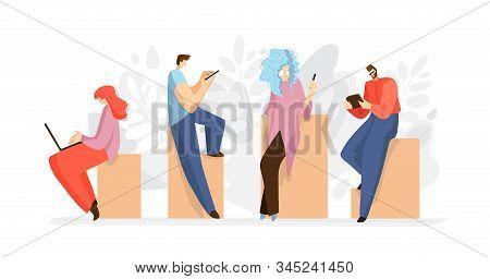 Working People With Tablet, Smartphone, Laptop, Notebook. Online Working Concept, Online Job. People