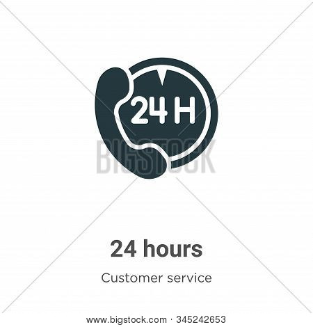 24 hours icon isolated on white background from customer service collection. 24 hours icon trendy an