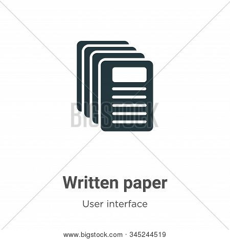 Written paper icon isolated on white background from user interface collection. Written paper icon t
