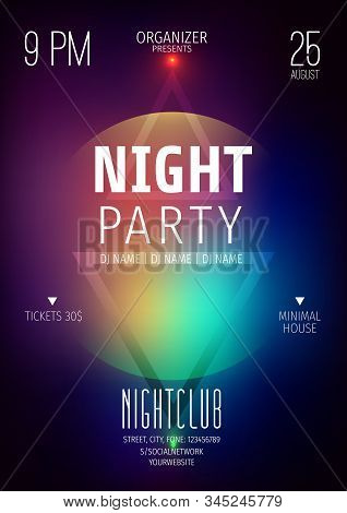 Poster Or Flyer Layout Template.abstract Background With Geometric Elements.techno Poster.neon Glow.
