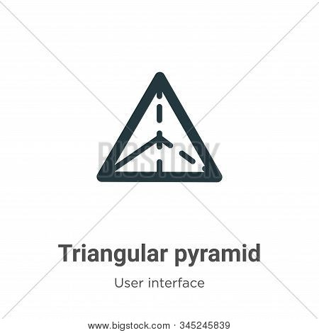 Triangular pyramid icon isolated on white background from user interface collection. Triangular pyra