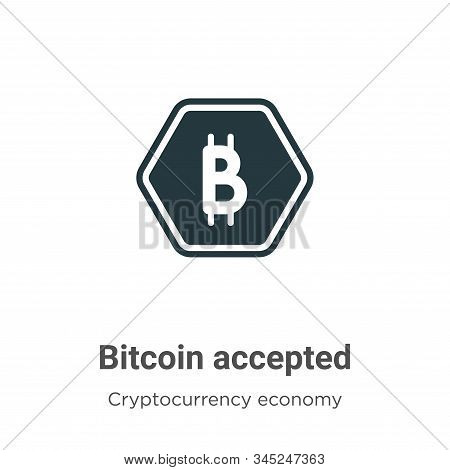 Bitcoin accepted icon isolated on white background from cryptocurrency economy and finance collectio
