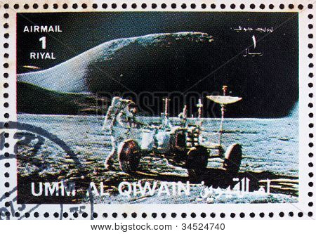 Postage stamp Umm al-Quwain 1972 Astronaut and Lunar Rover