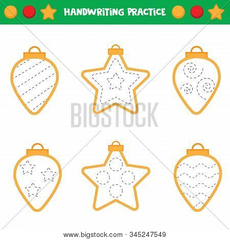Educational Worksheet For Preschool Kids. Tracing Lines. Trace The Christmas Balls. Handwriting Prac