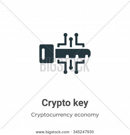 Crypto Key Vector Icon On White Background. Flat Vector Crypto Key Icon Symbol Sign From Modern Cryp