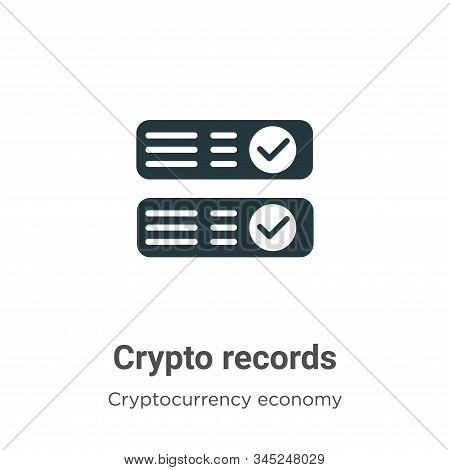 Crypto Records Vector Icon On White Background. Flat Vector Crypto Records Icon Symbol Sign From Mod
