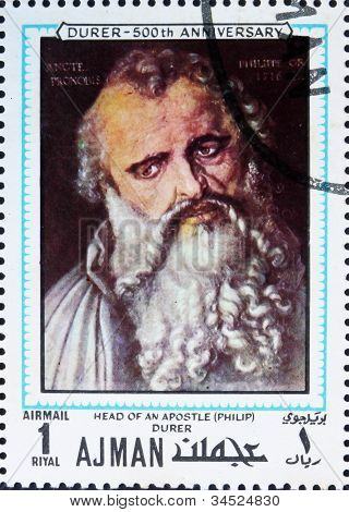 Postage stamp Ajman 1970 Apostle Philip by Albrecht Durer