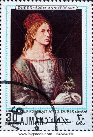 Postage stamp Ajman 1970 Self Portrait by Albrecht Durer