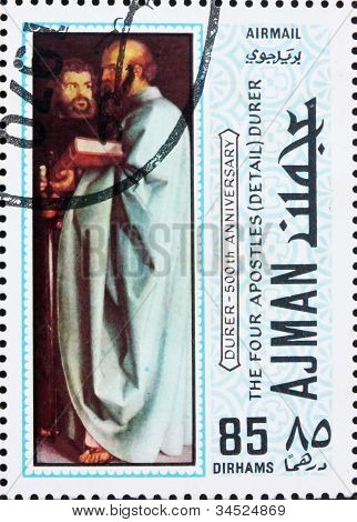Postage stamp Ajman 1970 The Four Apostles by Albrecht Durer
