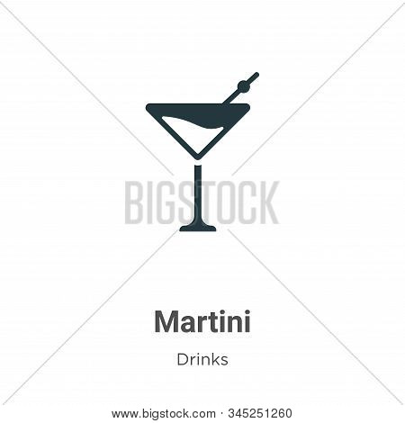 Martini Vector Icon On White Background. Flat Vector Martini Icon Symbol Sign From Modern Drinks Col