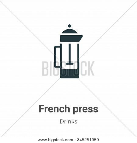 French press icon isolated on white background from drinks collection. French press icon trendy and