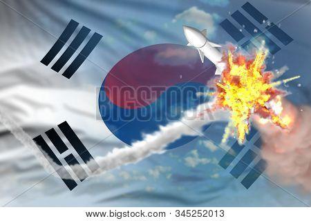 Republic Of Korea (south Korea) Intercepted Ballistic Missile, Modern Antirocket Destroys Enemy Miss