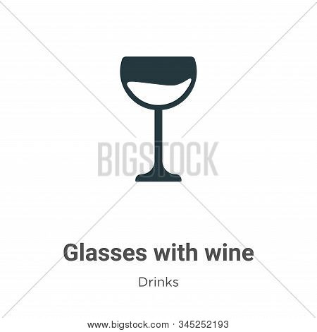 Glasses with wine icon isolated on white background from drinks collection. Glasses with wine icon t