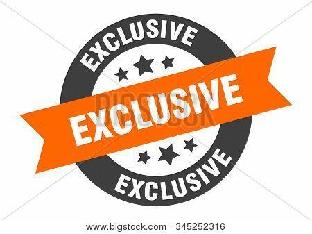 Exclusive Sign. Exclusive Orange-black Round Ribbon Sticker