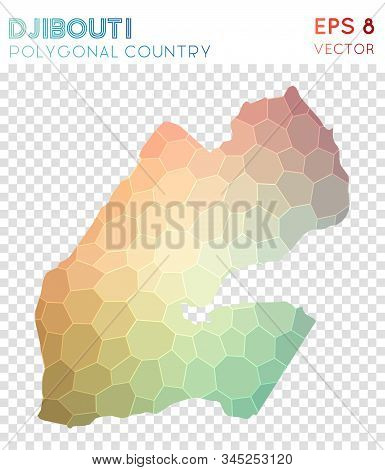 Djibouti Polygonal, Mosaic Style Country Map. Exotic Low Poly Style, Modern Design For Infographics