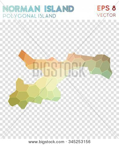 Norman Island Polygonal, Mosaic Style Island Map. Energetic Low Poly Style, Modern Design For Infogr