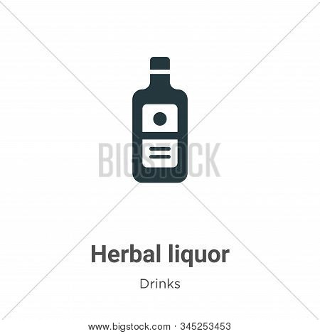 Herbal Liquor Vector Icon On White Background. Flat Vector Herbal Liquor Icon Symbol Sign From Moder