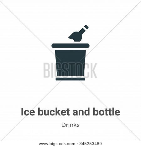 Ice bucket and bottle icon isolated on white background from drinks collection. Ice bucket and bottl