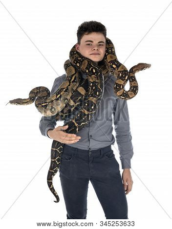Boa Imperator And Teen In Front Of White Background