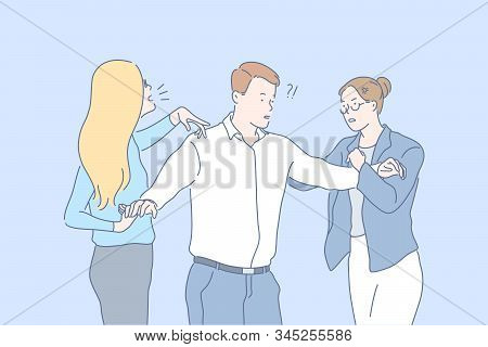 Relationship, Quarrel, Jealousy Concept. Amazed Man Tries To Stop Quarrel Of Two Angry Furious Women