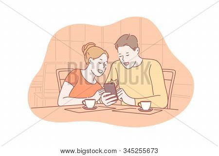 Family, Communication, Addiction, Social Media Concept. Young Couple Is Sitting Cafe And Communicate