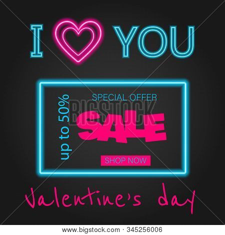 Valentine's Day background, Valentine's day banners, Valentines Day flyer, Valentine's Day design, Valentine's Day with Heart on black background, Copy space text area, vector illustration. Glow Signboard Valentines Day. Valentines Day Sale banner. Valent