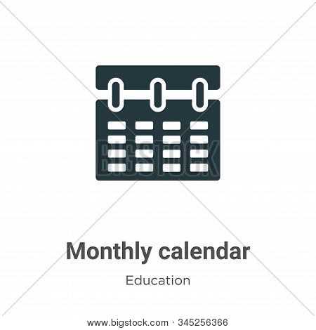 Monthly calendar icon isolated on white background from education collection. Monthly calendar icon