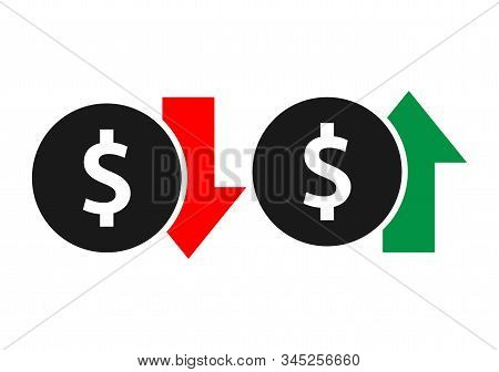 International Currency Icons On Up And Down Arrows. International Currency Icons On Vector Up And Do