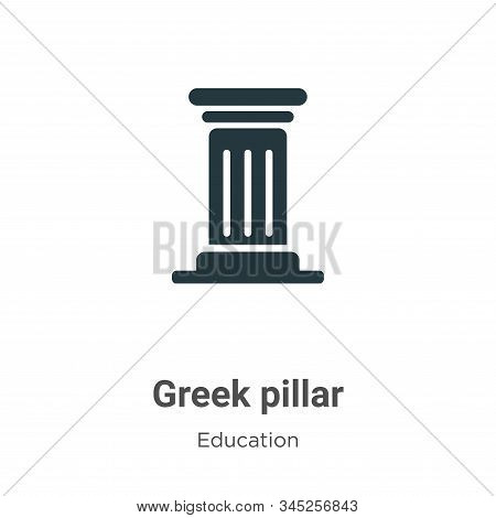 Greek Pillar Vector Icon On White Background. Flat Vector Greek Pillar Icon Symbol Sign From Modern